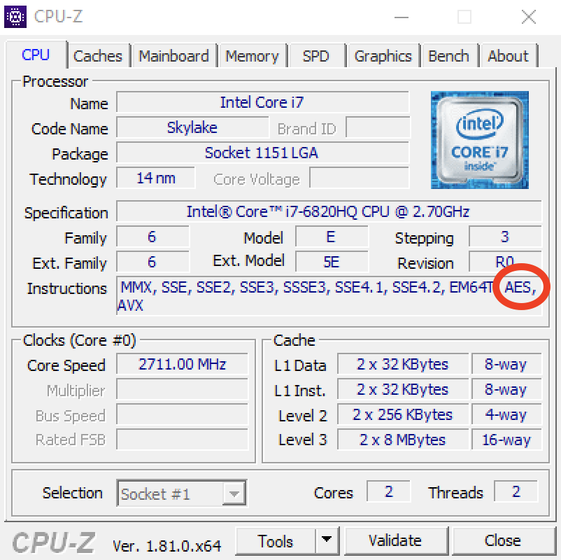 CPU-Z screenshot showing AES instruction support