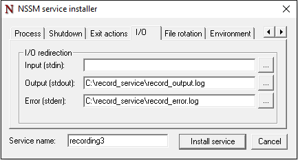 Log files for the Windows Service