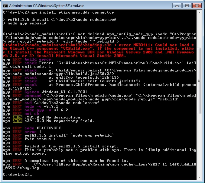 npm install error msb3411