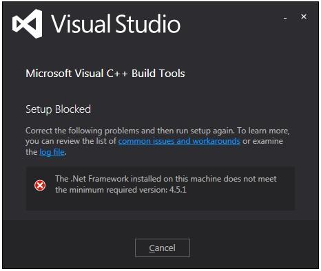Build tools installation error