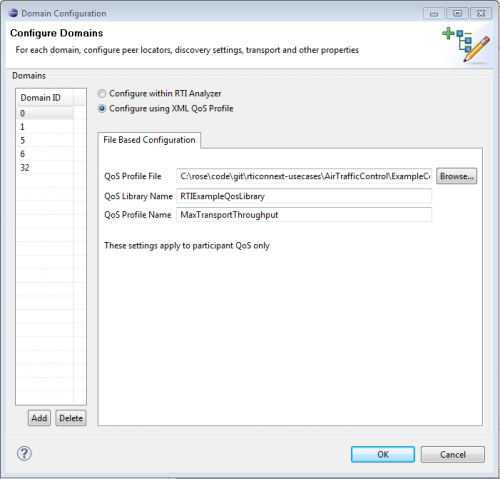 Domain Configuration Dialog